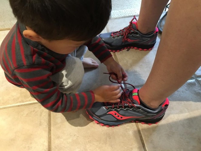 Getting my shoe tied